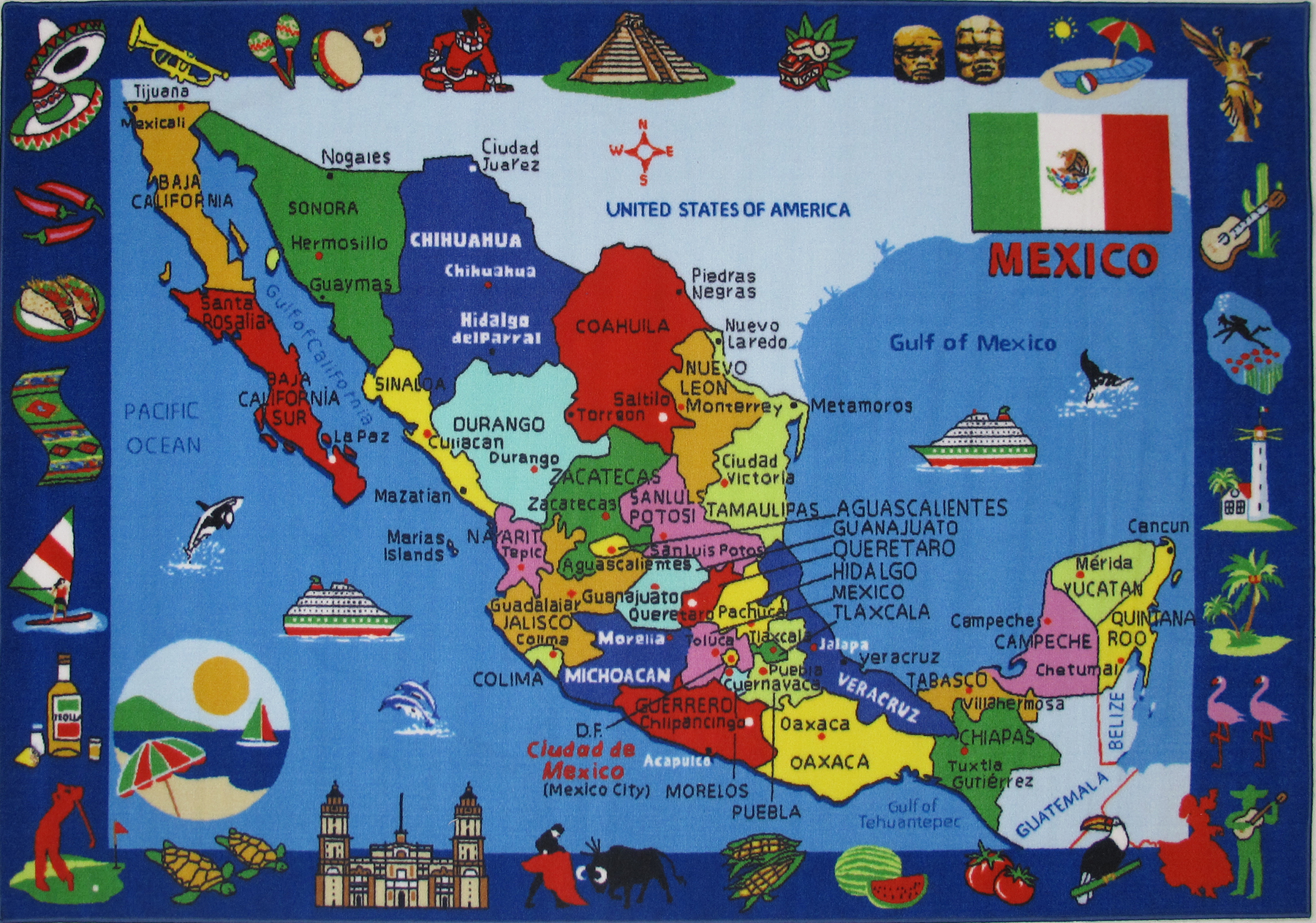 MAP OF MEXICO Rugs Plus